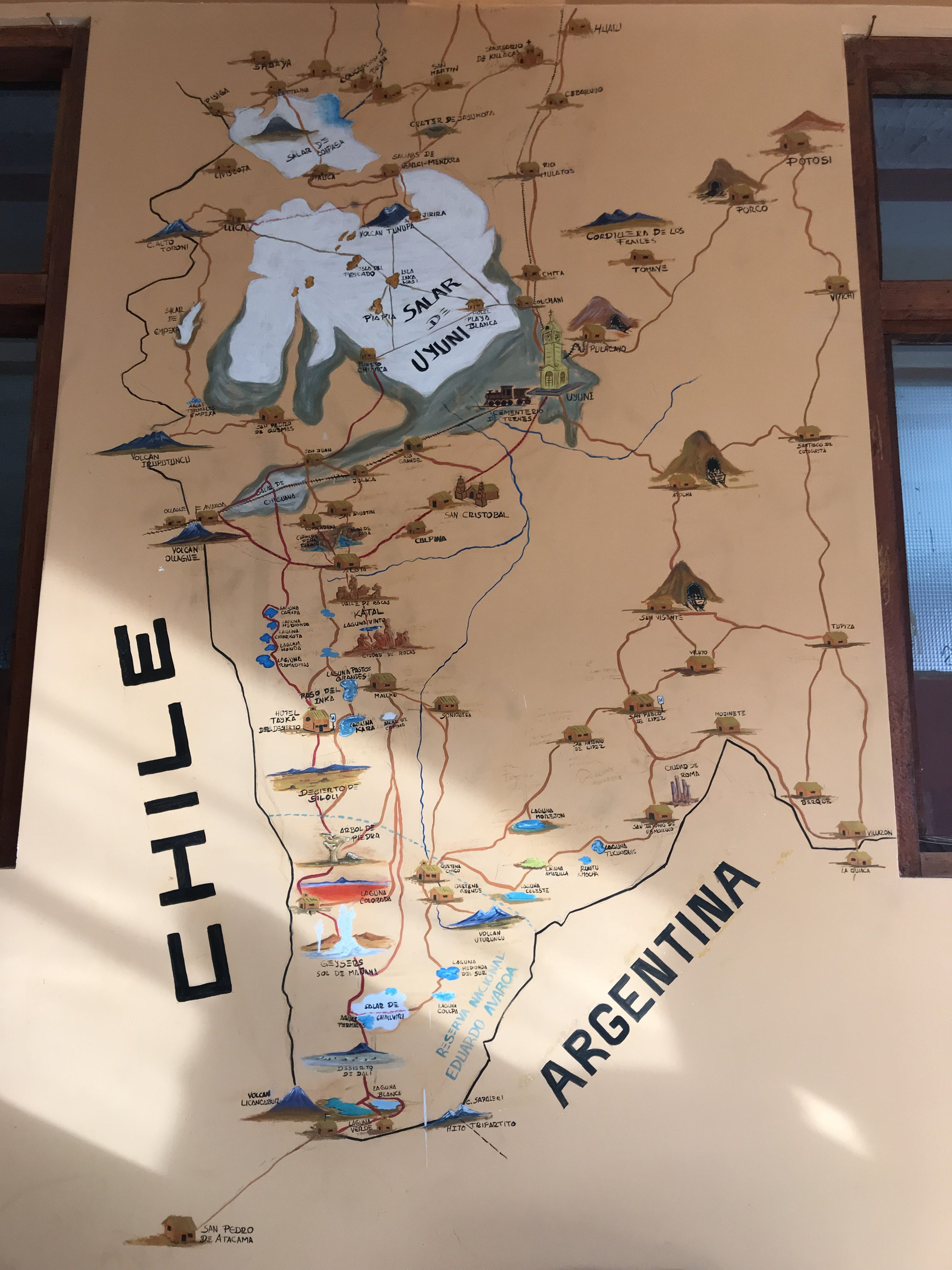 A map of our tour at the tour agency in Uyuni
