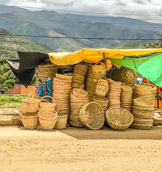 Loads of baskets next to the Mercado Campesino