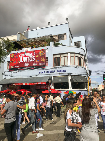 People gather in the main square of Tarija during 'Jueves de Comadres'
