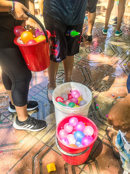 Water balloons ready for action during 'Lunes de Barras'