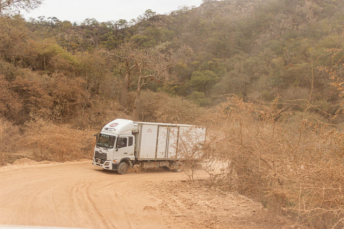 A truck on a dusty Bolivian road