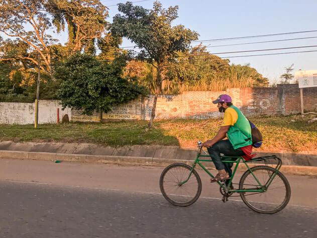 A man riding a bike in Santa Cruz