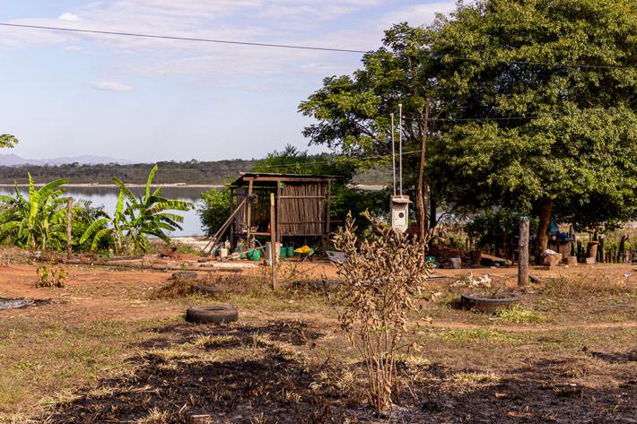 A shack on the lake shore