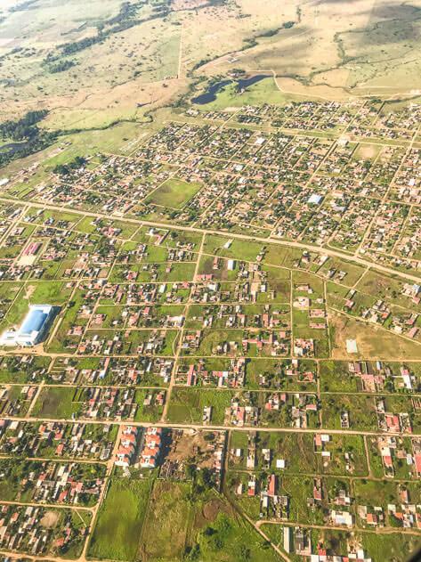 Aerial view of a residential area in Santa Cruz de la Sierra