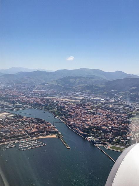Aerial view of Puente Colgante (suspension bridge) between Portugalete and Getxo
