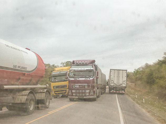 Trucks blocking the road in Villa Montes on our way to Santa Cruz