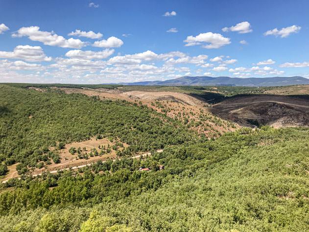 The view of Sierra de la Demanda from the Castrovido castle