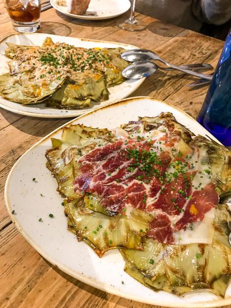 Artichokes with Serrano ham