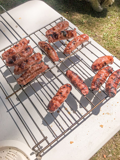 Grilled sausages as an appetizer