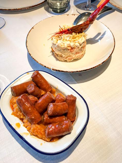 Chistorra and ensaladilla rusa