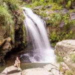 Posing at the right waterfall in Chorros de Jurina