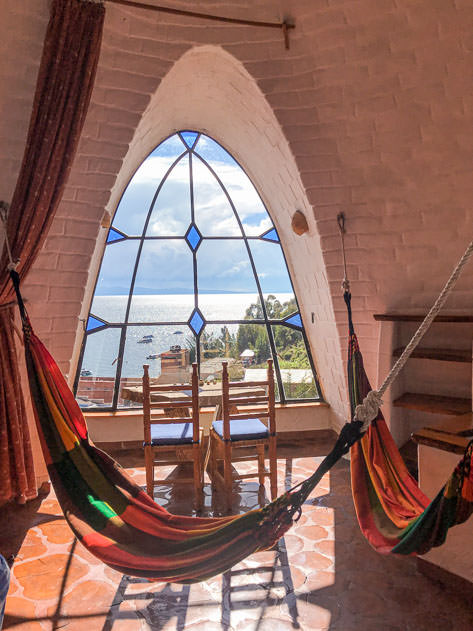 The upper floor featured colorful hammocks and a lovely view