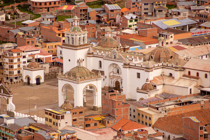 A close shot at the Copacabana Cathedral surrounded by brick houses