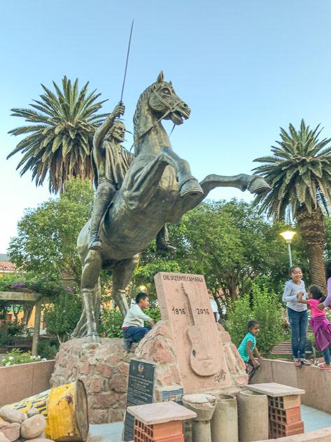 Statue in the main square of Camargo
