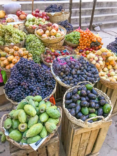 Fresh fruits in the local market in Camargo